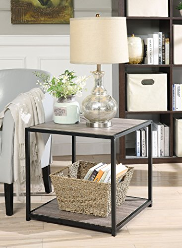 Weathered Grey Oak Finish Metal Square Chair Side End Table with 2-tier (Metal Wood Finish Table)