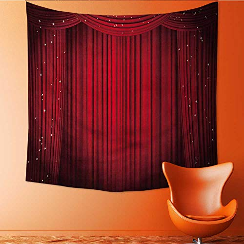 UHOO2018 Customed Widened Tapestry Open red with Glitter Opera or Theater Wall Hanging Tapestry 63W x 63L Inch