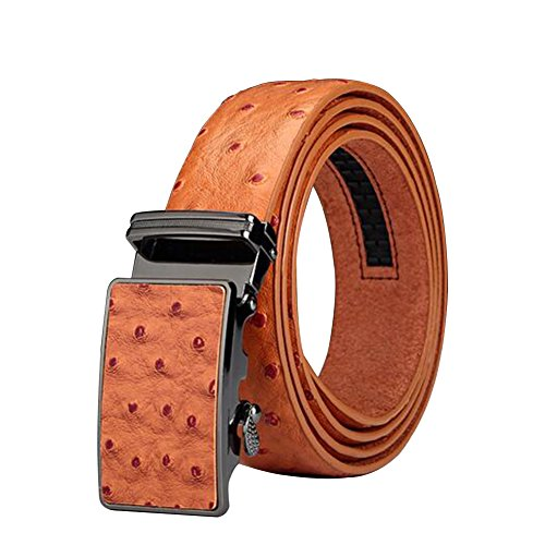 "Men's Belt Ratchet Leather Ostrich Grain Dress Belt with Automatic Buckle 35mm Wide 27""-40"" Tan"