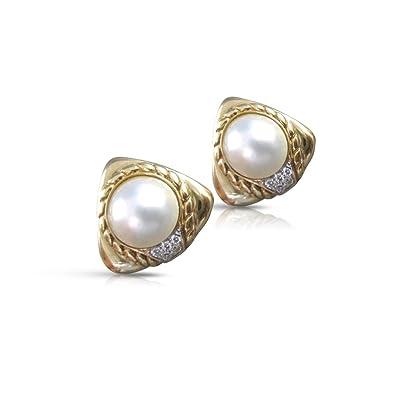 6816904ba Amazon.com: LARGE DIAMOND MABE PEARL 14K YELLOW GOLD TRIANGLE ...