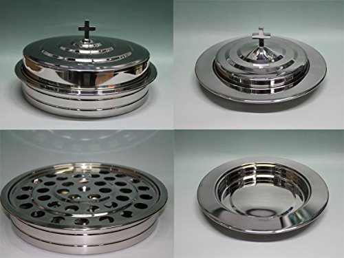 Silvertone  Stainless Steel Communion Tray Set And Bread Tray Set