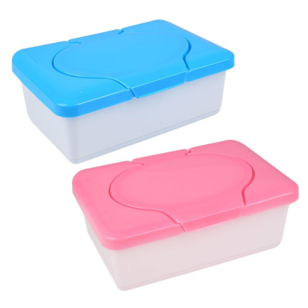 Kicode TOPmountain 2 Pcs Humide Serviette en Papier de Soie Plastique Box Baby Wipes Presse Pop-up Design Accueil Espace de Rangement Accessoires de Récipient de Support