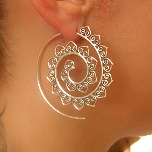 Silver Earrings - Silver Spiral Earrings - Gypsy Earrings - Tribal Earrings - Ethnic Earrings - Indian Earrings - Statement Earrings (ES46)
