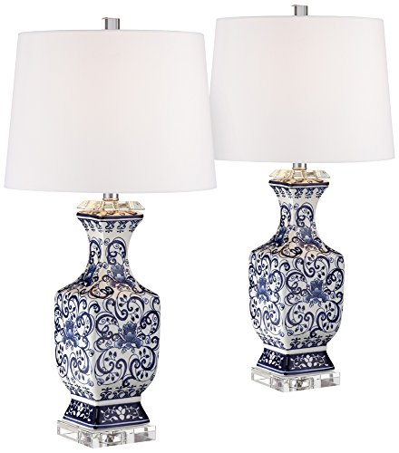 Iris Blue and White Porcelain w/Crystal Table Lamp Set of 2 -