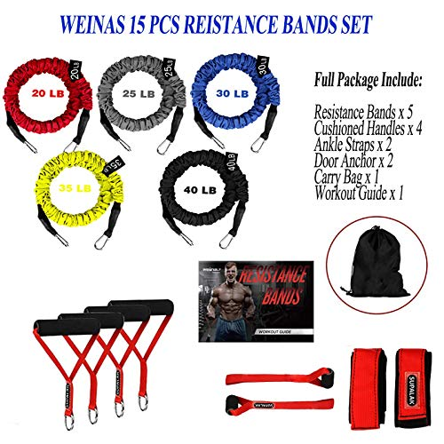 Resistance Bands, 15 Pieces Exercise Elastic Resistance Bands Set, 20lbs to 40lbs Resistance Tubes with Heavy Duty Protective Nylon Sleeves Anti-Snap for Fitness SUPALAK