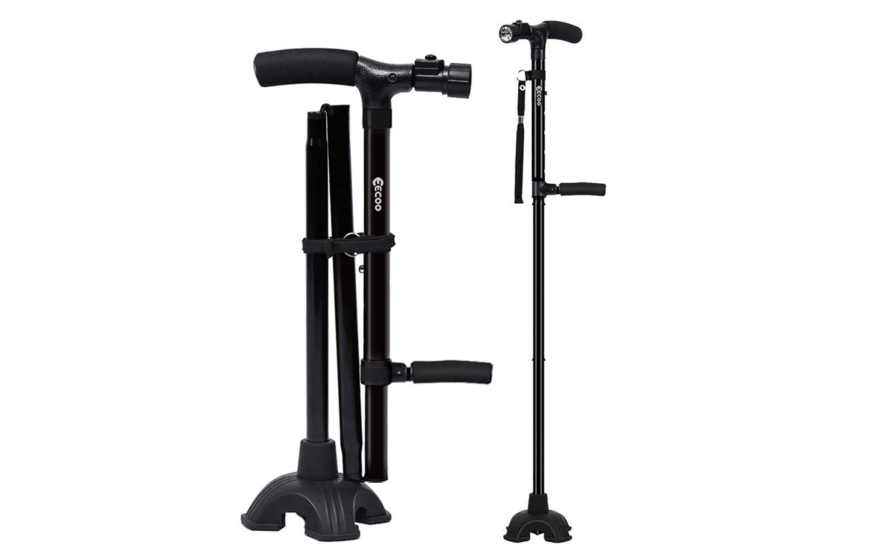 Medical Convenient Two-Handle Walking Cane Lightweight Walking Stick with Adjustable LED Lights and Stable Quad Cane Base