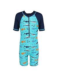 HUANQIUE Boys Swimsuits Rash Guard One Piece UPF50+ Swimwear