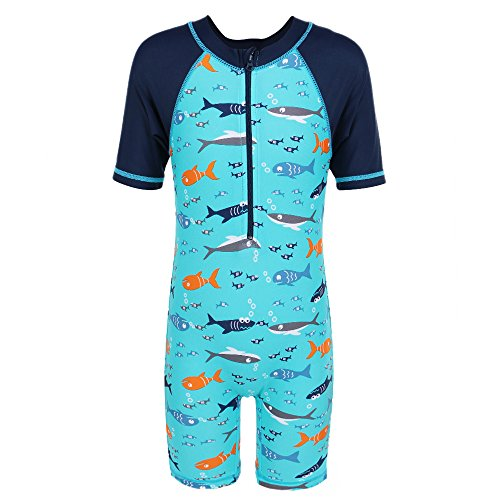 TFJH Kids Boys Swimsuit UPF 50+ UV Sun Protective One-Piece Lots of Fish 5-6Years