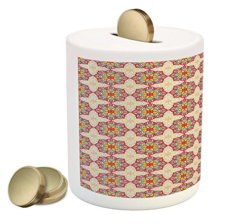 Price comparison product image Ethnic Coin Box Bank by Ambesonne, Mosaic Pattern of Ornamental Blossoms in Lively Colors Folkloric Ottoman Art Tile, Printed Ceramic Coin Bank Money Box for Cash Saving, Multicolor