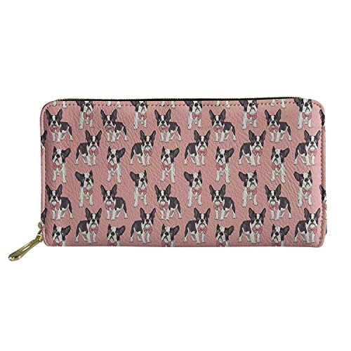 Large French Wallet - Sannovo Cute 3D Printing French Bulldog Wallet for Woman Pink Pu Leather Purse with Zipper