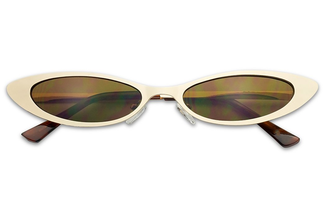 Small Narrow Thin Flat Metal Frame Oval 90's Vintage Cat Eye Slim Sun Glasses (Gold Frame | Brown) by SunglassUP