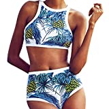Bathing Suits for Women, Two Piece Bikini Swimsuit High Waisted Push Up Halter Tie Bow Knot Ruffle Flounce Crop Top Lace Cut Out Bottom Strap Adjustable Padding Cup Pool Swim Sexy (M, Blue)