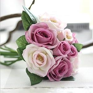 9Pcs/Set Rose Flowers Bouquet Wedding Decoration Thai Royal Rose Upscale Artificial Flowers Faux Silk Flower Roses Home Decor H 22
