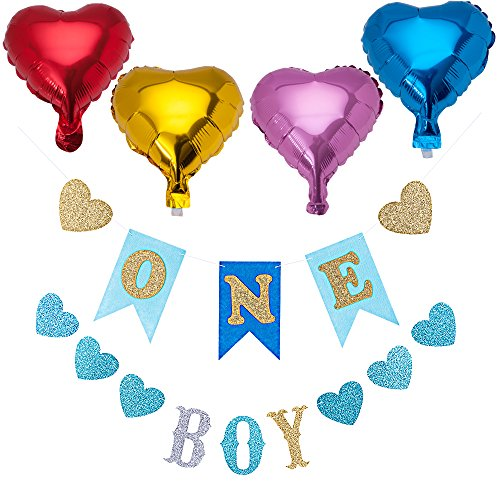 1st First Birthday Glitter Decorations Little Buddy Boys Girls One Year Old Celebration Loving Heart Banner High Chair Decor Foil Balloons Party Garland Hanging Flag Baby Shower Supplies … (Blue)