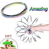 Magic Flow Ring Kinetic Educational Spring Bracelet Toy Props Stainless Steel,Intelligent Relax Toy Fidget Creative Gifts for Children and Adults (Rainbow Color)