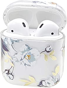 Seadream Flower Patten Protective Clear PC Cover and Skin Glossy Anti-dust Hard Case Cover Compatible with Apple AirPods 1 & AirPods 2 (Flower#2)