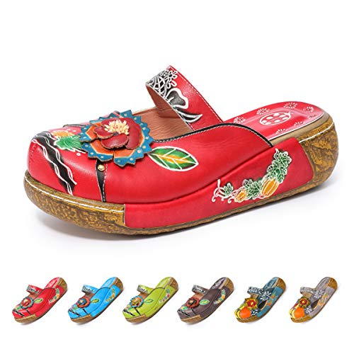 gracosy Leather Slipper, Women's Oxford Slipper Vintage Slip-Ons Mule Clog Colorful Flower Backless Loafer Shoes Red 10 M ()