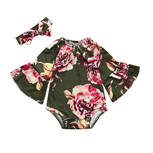 Winsummer Newborn Baby Girl Clothes Floral Bodysuit+Headband 2pcs Summer Flare Sleeve Fashion Jumpsuit 0-24Months (Green, 12-18M)