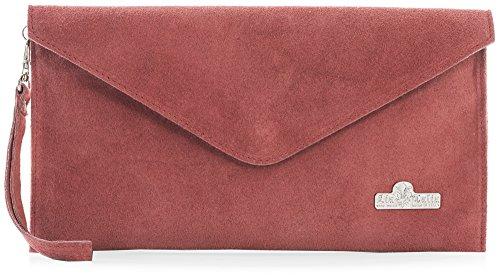 Pochette clutch Intense Soldé en LIATALIA style Corail Orange Rouge poudré italien z suède 'Leah' soirée enveloppe de AqdFFtwCx