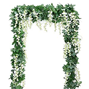 Artificial Flowers Silk Wisteria Vine 5pcs 6.6ft/Piece Ivy Leaves Garland Wisteria Artificial Plants Greenery Fake Hanging Vines Green Leaf Garland for Wedding Kitchen Home Party Decor 2