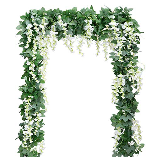 - Artificial Flowers Silk Wisteria Vine 5pcs 6.6ft/Piece Ivy Leaves Garland Wisteria Artificial Plants Greenery Fake Hanging Vines Green Leaf Garland for Wedding Kitchen Home Party Decor(White)