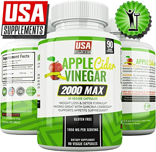 Apple Cider Vinegar Pills for Weigh Loss | 1,950mg | 100% Pure Raw Organic Veggie Pills | Detox, Healthy Blood Sugar, Digestion, Appetite Suppression & Bloating Relief Capsules for Women & Men (Best Apple Cider Vinegar Pills For Weight Loss)