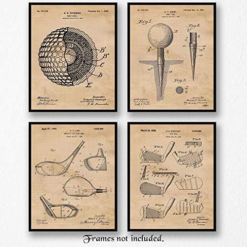 Original Golf Patent Art Poster Prints- Set of 4 (Four 8x10) Unframed Vintage Style Photo- Great Wall Art Decor Gifts Under $20 for Home, Office, Shop, Garage, Man Cave, Student, Teacher, Coach, Fan