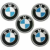 5 pieces, 2.4 Inches Silver BMW Logo Sew Ironed On Badge Embroidery Applique Patch