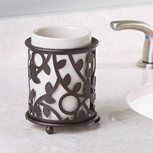 60%OFF mDesign Decorative Ceramic Soap Dispenser Pump, Toothbrush Holder Stand, Tumbler for Bathroom Vanities - Set of 3, Vanilla/Bronze