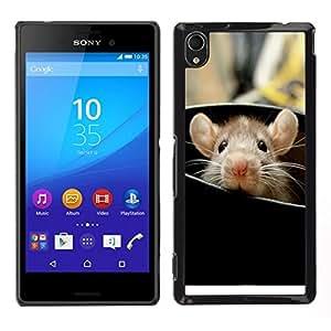 EJOY---Cubierta de la caja de protección para la piel dura ** Sony Xperia M4 Aqua ** --Rata Roedor lindo que mira a escondidas grandes orejas de animales