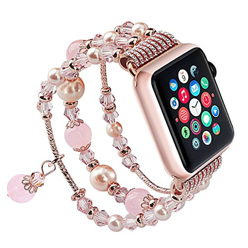 For Apple Watch Band, iWatch Band, Qiandy Apple Watch Strap with Fashion Handmade Elastic Stretch Faux Pearl Natural Stone Bracelet Strap for Apple Watch Series 1 Series 2 Series 3 (Pink 38mm)