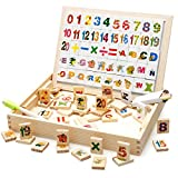 Koshiyo Writing Drawing Board in Box with 104PCS Magnetic Letters or Numbers Double Face Jigsaw Drawing Easel Wooden Toys for Kids