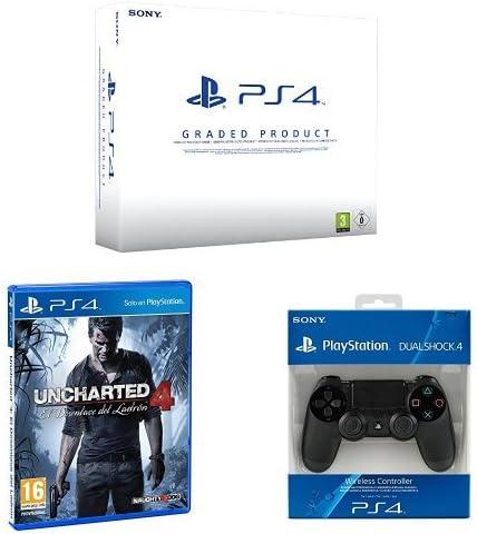 PlayStation 4 (PS4) 500 GB Consola - Blanca - (Reacondicionado Certificado) - Chasis B + Mando adicional + Uncharted 4: Amazon.es: Videojuegos