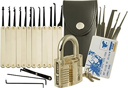 20-Piece Lock Pick Set with Transparent Padlock and Credit