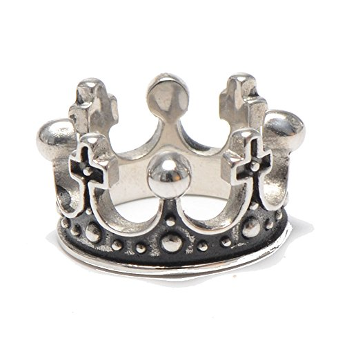 Crown Mens Bands - Mens Womens Stainless Steel Vintage Crown Ring for Queen King Wedding Band (10)