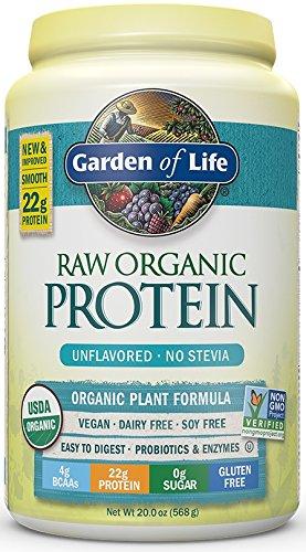Garden of Life Protein Powder - Organic Raw Protein Shake with Vitamins and Probiotics, Sugar Free, Unflavored, Vegan, Gluten-Free, 20oz (568g) Powder