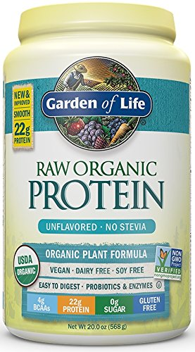 Garden of Life Organic Vegan Protein Powder with Vitamins and Probiotics - Raw Protein Shake, Sugar Free, Unflavored, 20oz (568g) Powder