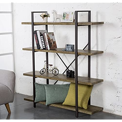 OK Furniture 4 Tier Bookcase Vintage Industrial Style Bookshelves Green
