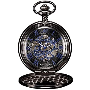 KS Reloj de Bolsillo Hombre con Cadena Esqueleto Mecánico Steampunk Negro KSP032