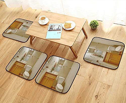 UHOO2018 Simple Modern Chair Cushions Classic Half Bathroom with Hardwood Floor and Mirror Reusable Water wash W27.5 x L27.5/4PCS Set by UHOO2018