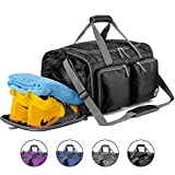 Foldable Gym Bag Packable Travel Duffle with Extra 2 Wet Bags & Shoes Compartment, Super Lightweight Duffel for Luggage, Sports & Yoga by WANDF (Black) Review