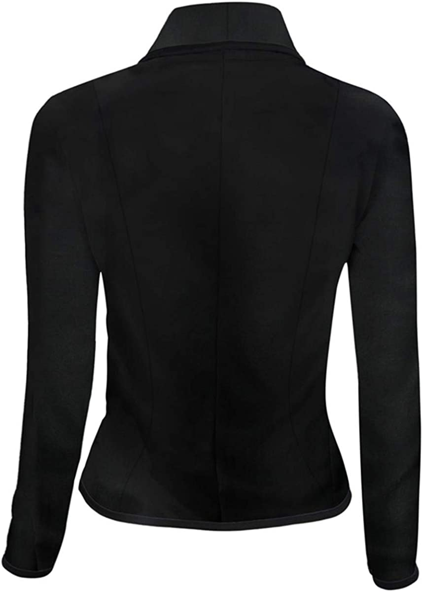 Mescara Blazer Damen Jerseyblazer Jacke Kurz Langarm Sweatblazer Casual Oberteil Sweat Tailliert Schwarz Slim Business B/üro elegant