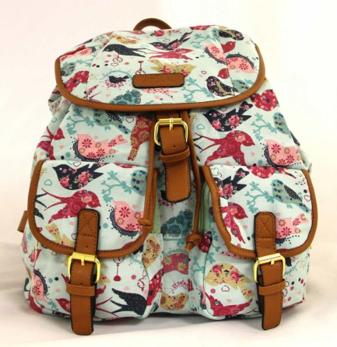señoras empaqueta, los morrales de lona, impresión del pájaro, estilo vintage, mochilas, azul
