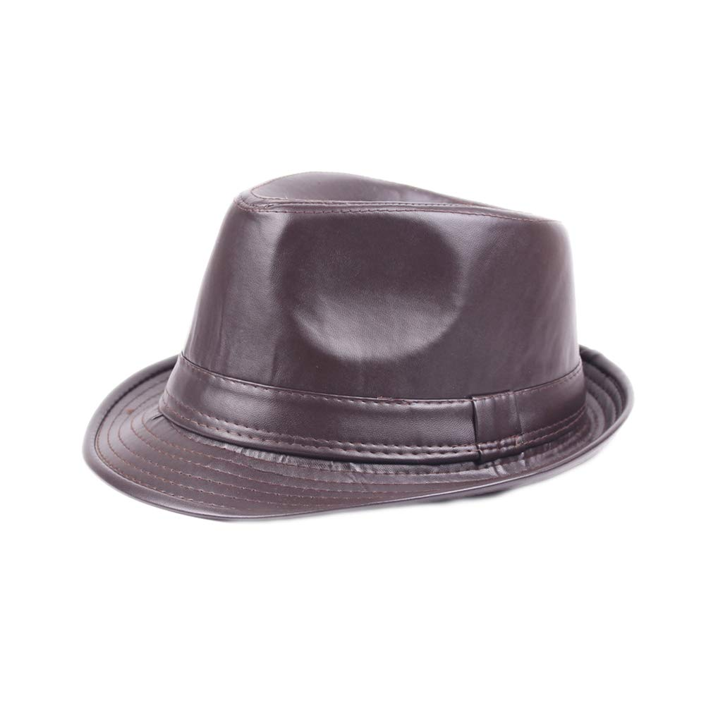U2BUY PU Leather Fedora Hat for Men Women Classic Short Brim Jazz Hats