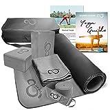 Live Infinitely Complete 6 Piece Yoga Set 6mm Dual Layer Non-Slip TPE Yoga Mat, 2 EVA Foam Blocks, 6′ Cotton Strap, Mat Sized Exercise Towel & Carrying Case- Perfect Kit for Any Yogi & Beginners
