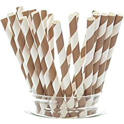 Brown Vintage Stripe Paper Straws