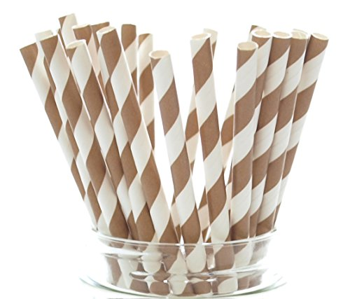 Brown Vintage Stripe Paper Straws product image