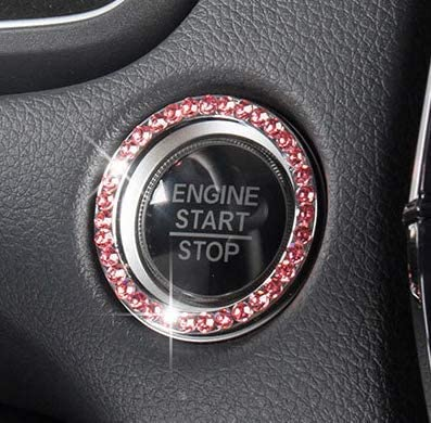 Unique Women Gift Car Glam Interior Accessory Personality Car Interior Emblem Crystal Ring Sticker,Automotive Parts Start Engine Ignition Button Key /& Knobs Key Ignition /& Knob Bling Ring Pink