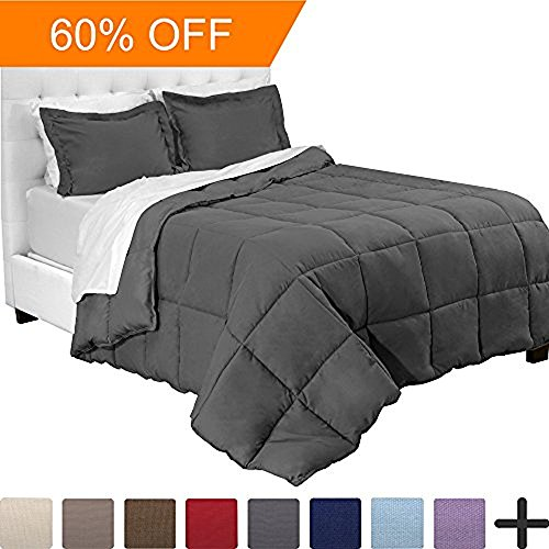 5-Piece Bed-In-A-Bag - Twin XL Extra Long (Comforter Set: Grey, Sheet Set: White)