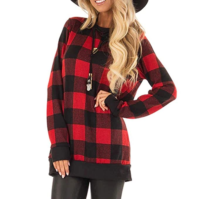 Darringls Abrigo de Invierno Mujer, Chaqueta Impresión a Cuadros Chaqueta a Cuadros Bolsillo Camiseta: Amazon.es: Ropa y accesorios